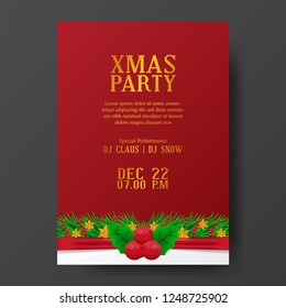 Christmas party invitation poster template with garland decoration and holly leaves on the red background. vector illustration.