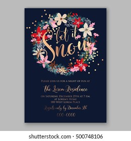 christmas party invitation poster template with romantic winter wreath of red poinsettia flowers pine and