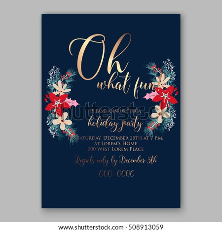 christmas party invitation printable template floral stock vector