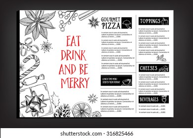 Christmas party invitation restaurant, menu design. Vector template with graphic.