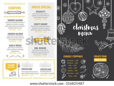 christmas party invitation restaurant menu design stock vector