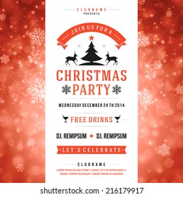 Christmas party invitation retro typography and ornament decoration. Christmas holidays flyer or poster design. Vector illustration Eps 10.