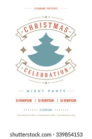 Christmas party invitation retro typography and ornament decoration. Christmas holidays flyer or poster design. Vector illustration.