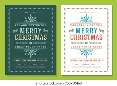 Christmas party invitation retro typography and decoration elements. Christmas holidays flyer or poster design. Vector illustration.
