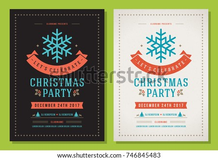 christmas party invitation retro typography decoration のベクター