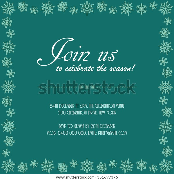 Christmas Party Invitation Snowflake Border Join Stock