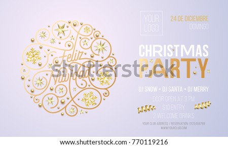 Christmas Party Invitation Spanish Feliz Navidad Stock Vector