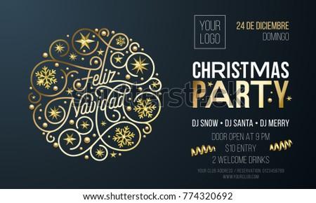 Christmas Party Invitation Spanish Feliz Navidad Stock Vektorgrafik