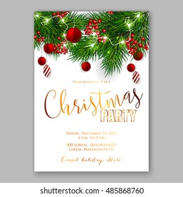 Christmas party invitation template background with fir branches and red balls and red berry with decorations. Vector illustration