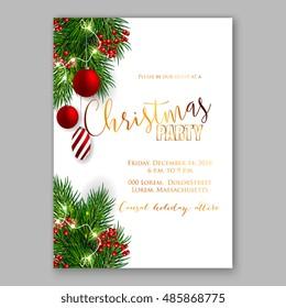 Merry Christmas Party Invitation Happy New Stock Vector Royalty
