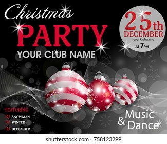 Christmas Party Invitation Template Black Background Stock Vector