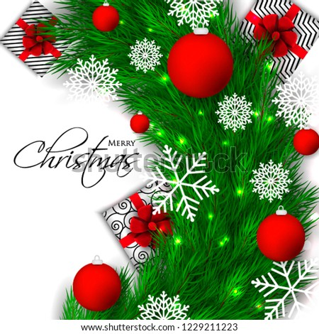 Christmas Party Invitation Template Greeting Card Stock Vector