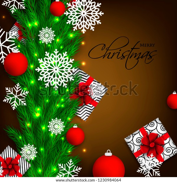 Christmas Party Invitation Template Greeting Card Stock Vector ...
