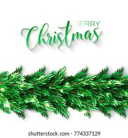 Christmas Party Invitation Template Needle Fir Stock Vector Royalty