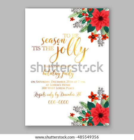 christmas party invitation template poinsettia flowers stock vector
