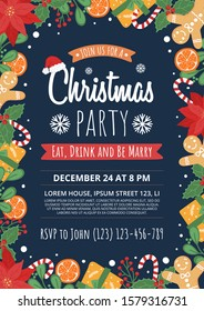 Christmas party invitation. Vector design template.