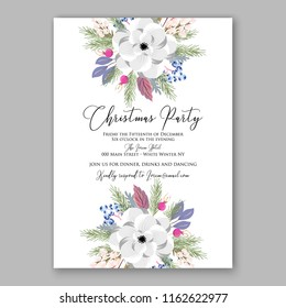 Christmas Party invitation vector template floral poster Anemone pink poinsettia fir winter holiday wreath illustration wording text