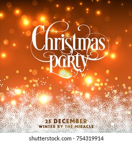 Christmas party invitation winter holiday card with snowflake