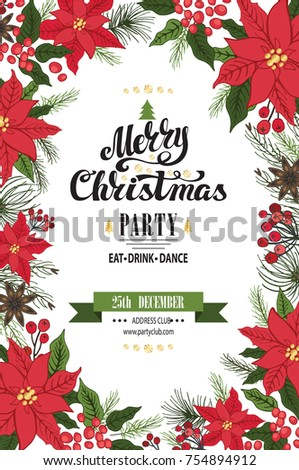 christmas party invitationdesign templateflyerticket vector merry