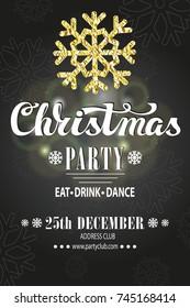 Christmas party invitation,design template.Vector. Merry Christmas handwriting lettering. Vintage Grey background,bokhe lightin.Glitter,foil snowflakes. Calligraphy design.Illustration