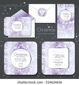Christmas party invitations set with envelope template. Cards have enough copy space. Vector format.