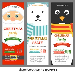 Christmas party invitations vertical banners set, vector illustration