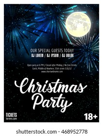 Christmas Party Lettering and Full Moon