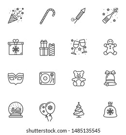 Christmas party line icons set. linear style symbols collection, outline signs pack. vector graphics. Set includes icons as stick, fireworks cracker, gift box, toy, tree, snowball, snowflake bubbles