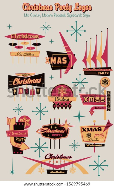 Christmas Party Logos, Mid Century Modern Roadside Signboards Style, Googie Design< Vintage Colors and Shapes from the 1950s