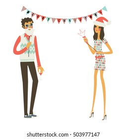 Christmas party people. Man wearing Santa beard and a woman wearing hat. Vector illustration