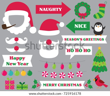 christmas party photo booth props santa hats and beards naughty and nice signs