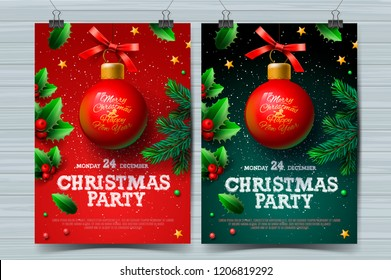 Christmas party poster with ball and Christmas decoration, vector illustration.