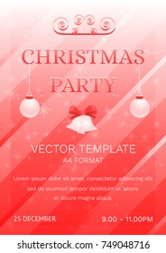Christmas Party Poster Banner. Vector Design Template. Festive background with falling snow. Vector Illustration in Red and White Colors.