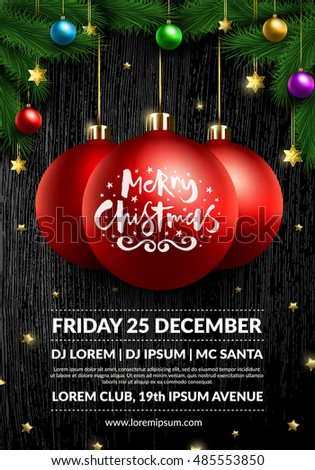 christmas party poster design 3 d realistic stock vector royalty