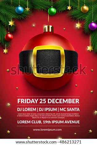 Christmas Party Poster Design 3 D Christmas Stock Vector (Royalty ...