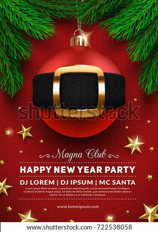 christmas party poster design 3 d christmas stock vector royalty