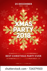 Christmas party poster design. Gold glitter snowflake with lights effects on red background. Eps10 vector.