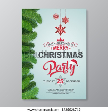 Christmas Party Poster Design Template Typography Stock Vector
