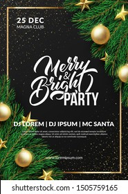 Christmas party poster design. Winter holidays background. Eps10 vector.