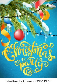Christmas party poster with hand-drawn lettering, vector illustration