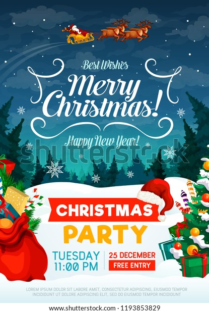 Christmas Party Poster Invitation Card Happy Stock Vector