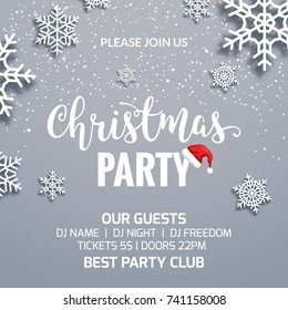 Christmas party poster invitation decoration design. Xmas holiday template background with snowflakes.