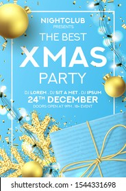 Christmas party poster invitation. Holiday background with realistic blue gift box, gold snowflake and sparkling light garlands. Vector illustration with Christmas baubles. Invitation to nightclub.