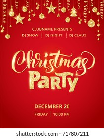 Poster Merry Christmas Party Red Vector Stock Vector - Save the date christmas party template free