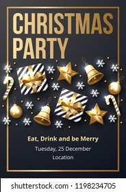 Christmas party poster template with shining gold and white ornaments. Made of snowflakes, gift, candy, bells, star, christmas ball. Vector illustration