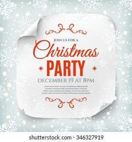 Christmas party poster template with snow and snowflakes. Christmas background. White, curved, paper banner.  Vector illustration.