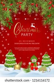 Christmas party poster with typography lettering, fir tree branches and handmade textile decoration on wooden background