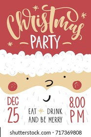 Christmas party poster. Vector illustration with lettering