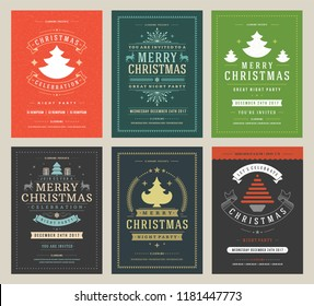 Christmas party posters design set retro typography and decoration elements. Christmas holidays event flyer or invitation. Vector illustration.