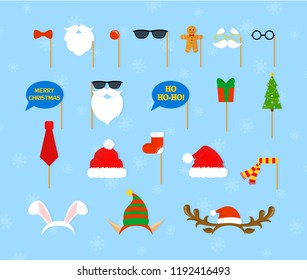 Christmas party props for photobooth set. Collection of hat, mask and other decoration for fun. New year accessory. Flat vector illustration